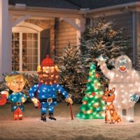 Rudolph and Bumble Outdoor Christmas Decoration on