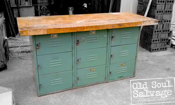 Vintage Locker Base Table Perfect For TV Console, Dinning