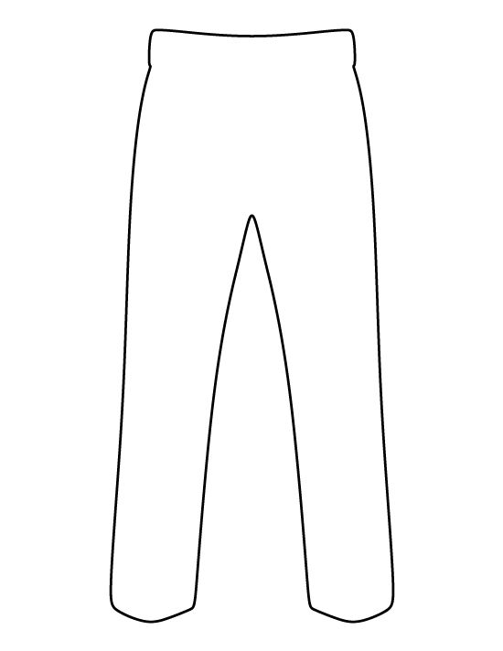 Pants pattern. Use the printable outline for crafts