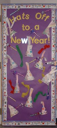 bulletin board or door decoration | 01-January-New Year ...