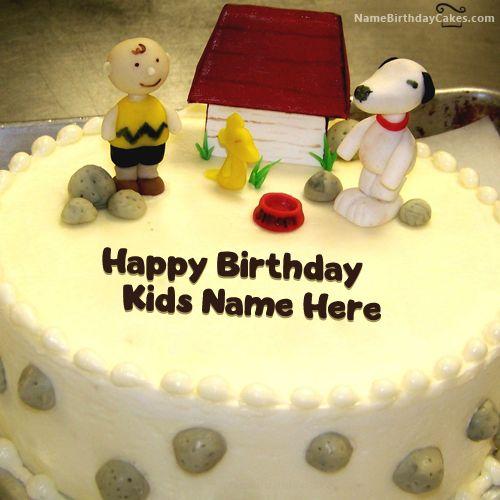 Write Name On Dog House Birthday Cake For Kids Happy