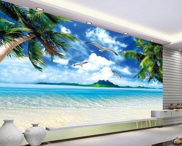 3d Wallpaper For House Walls India Wall Paper Ocean Beach Murals Scenery Mural Wallpaper