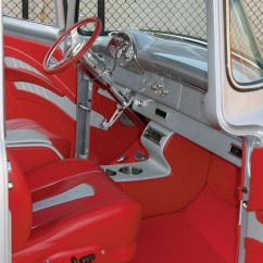 Willys Jeep Wiring Diagram 2003 Chevy Silverado 2500 Radio 1956 Ford F100 Pickup Truck Upholstered Leather Interior Red Silver Grey Console Door Panels ...