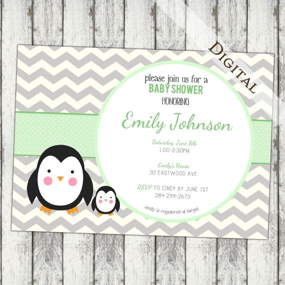 Chevron Baby Shower Invitation Penguin Baby Shower