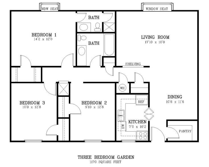 standardlivingroomsizecourtyard_3_br_floor_planjpg 16001280  Building my empire  Pinterest