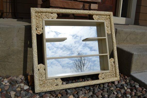 Windsor Mode Mirror Shadow Box  Hanging Shelf with Mirror