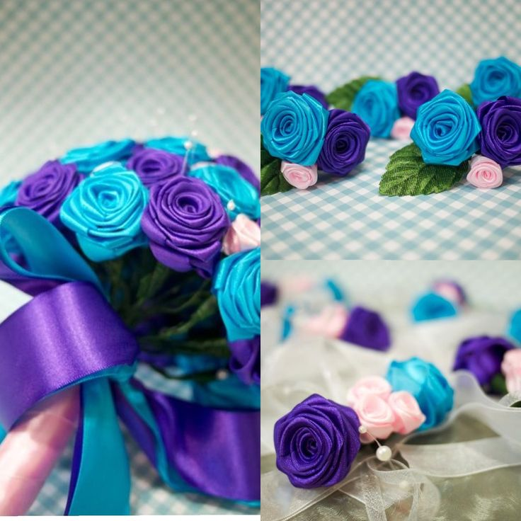 Stunning purple and turquoise wedding bouquet corsages