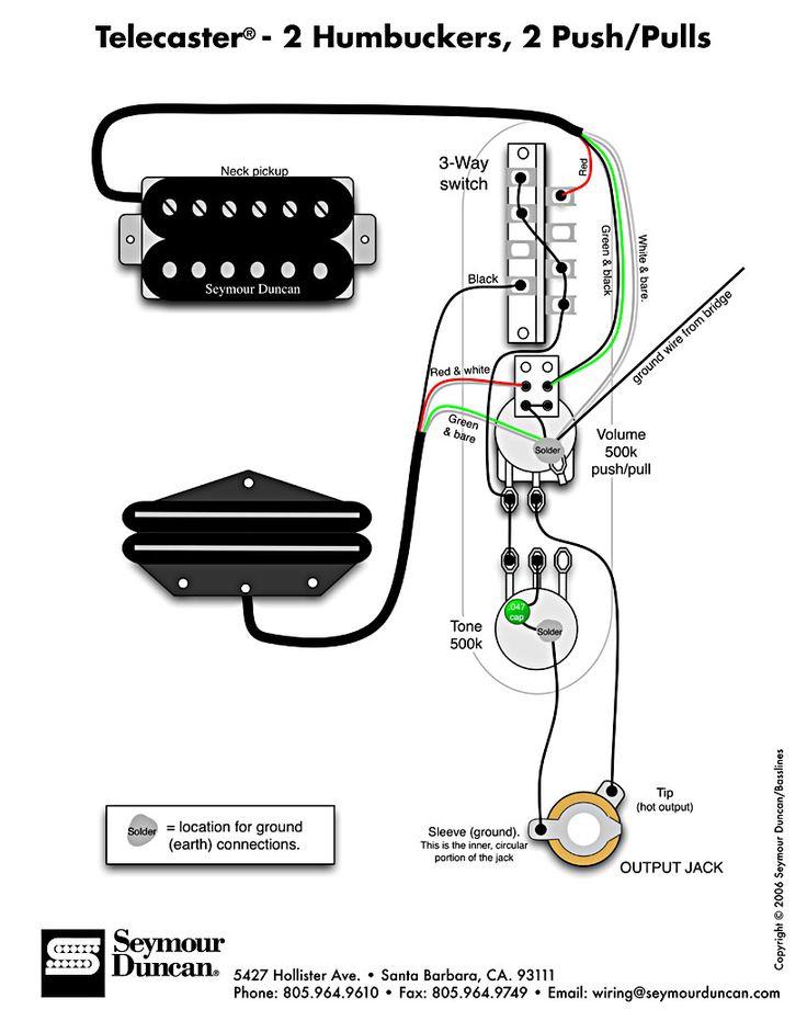 yamaha pacifica wiring diagram 1999 ford f250 super duty tele diagram, 2 humbuckers, push/pulls | telecaster build pinterest