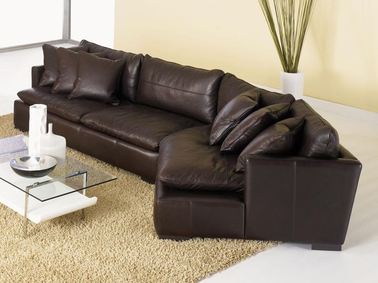 Reno Leather Sectional Sofa with Cuddler  Top Grain Aniline Leather  Living room  Pinterest