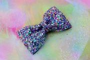 kaleidoscope glitter hair bow