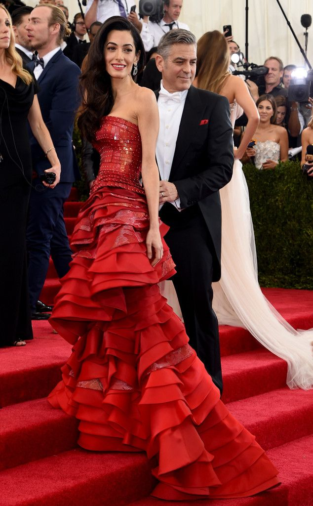 Amal Clooney & George Clooney Arrive at the 2015 Met Gala?See Amal?s Crimson, Sequin-Embellished Maison Margiela Dress! | E! Online Mobile: