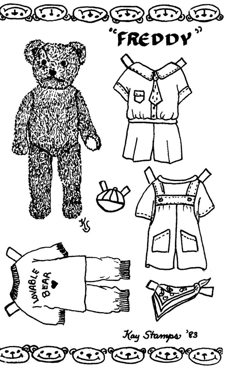 1983 FREDDY, Teddy Bear Paper Doll Postcard by Kay Stamps