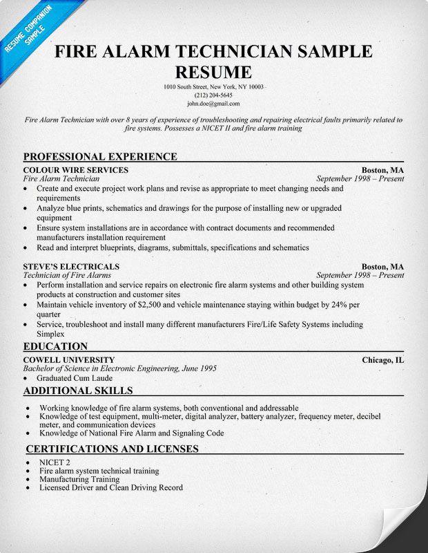 alarm technician resume sample