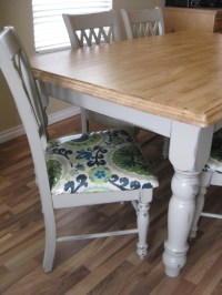 Recovering dining chairs. Painted grey table with stained ...