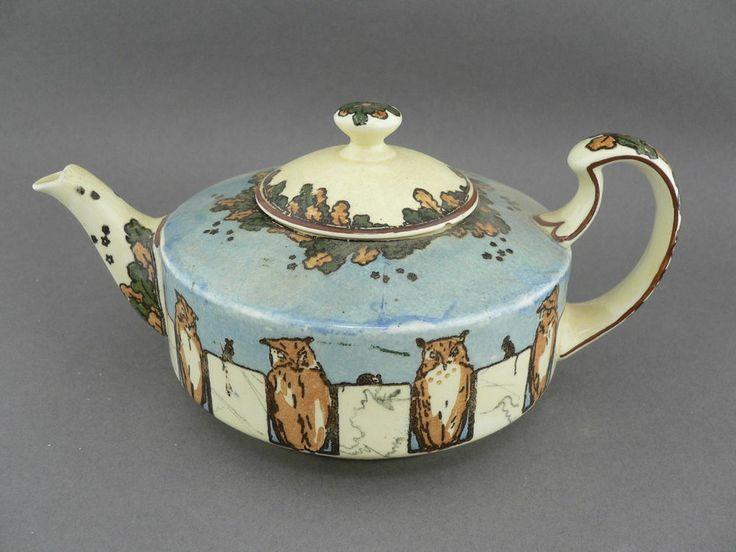 Vintage royal doulton d3607 owl series ware tea pot chip