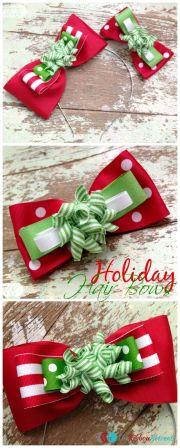 easy holiday hair bows - ribbon