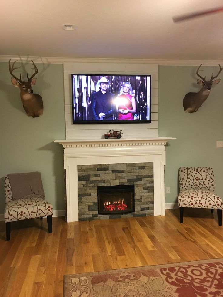 Shiplap Wall With Fireplace Diy Fireplace Surround For Electric Insert. Used Old