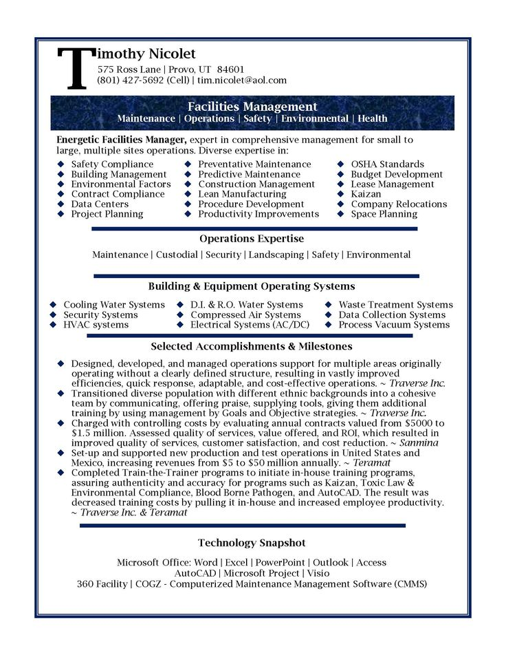 Resume Samples Professional Facilities Manager Resume