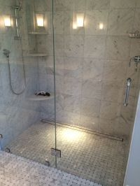 Walk In Shower with Linear Drain | bathroom remodel ...