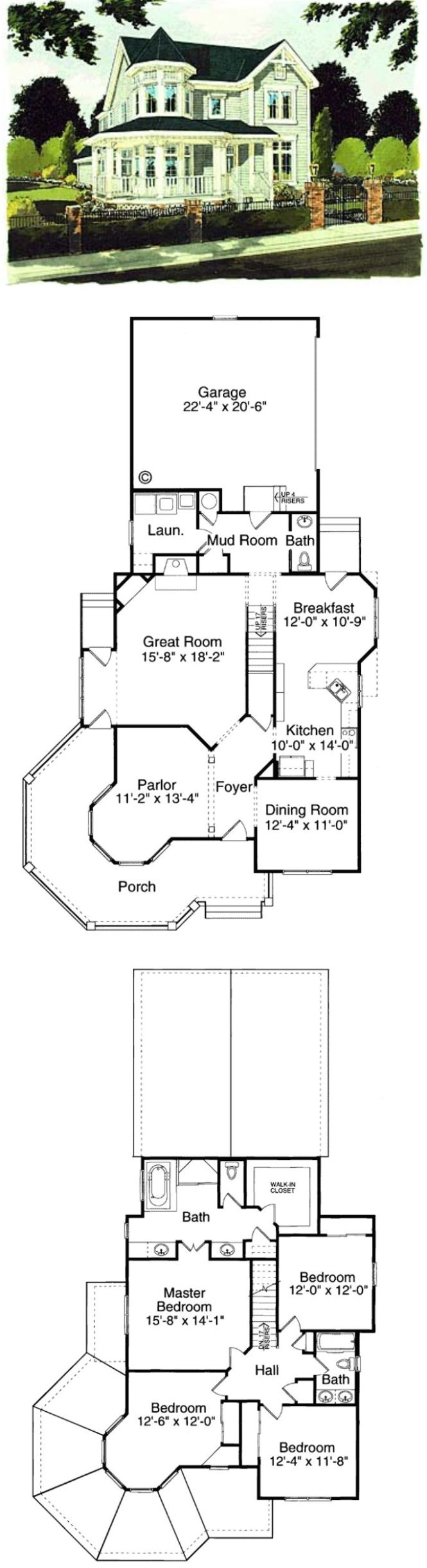 Nice Layout And Exterior Plans For A 4 Bedroom Victorian Farmhouse