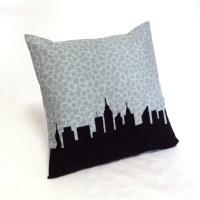 New York City Skyline Pillow, Blue gray floral print