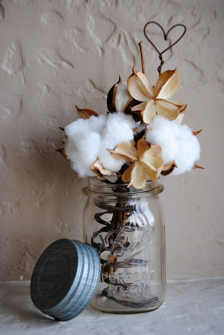 Cotton Boll Arrangement Made with Rustic Barbed Wire Vintage Ball Jar Cotton Pods  Jars