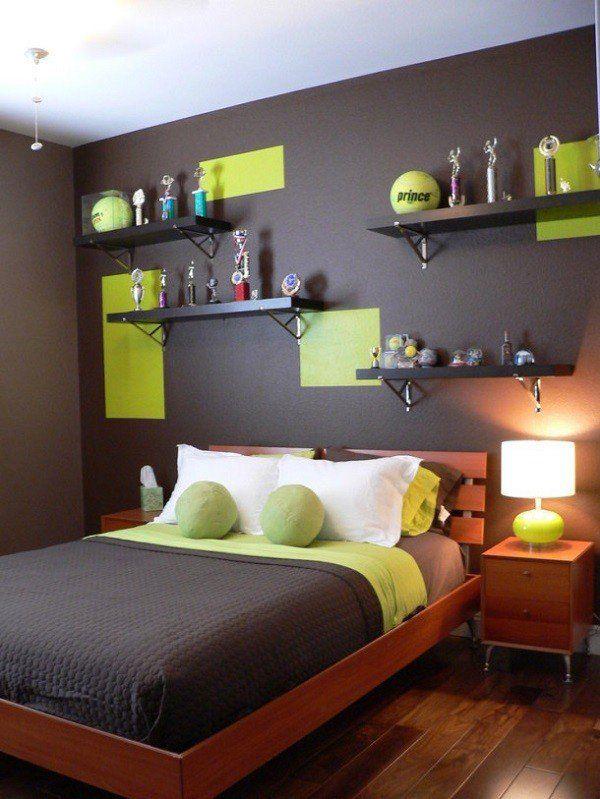 Boy Bedroom Furniture Open Shelves Wooden Bed Brown Green Colors