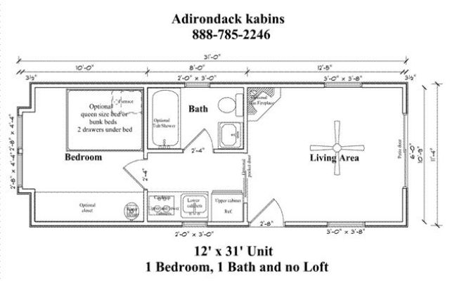 12 X 30 Cabin Floor Plan Living Small Pinterest