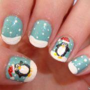 christmas penguin nails ella