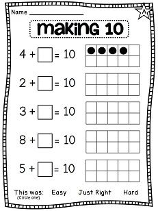 NEW 122 FIRST GRADE MATH WORKSHEETS TEN FRAMES