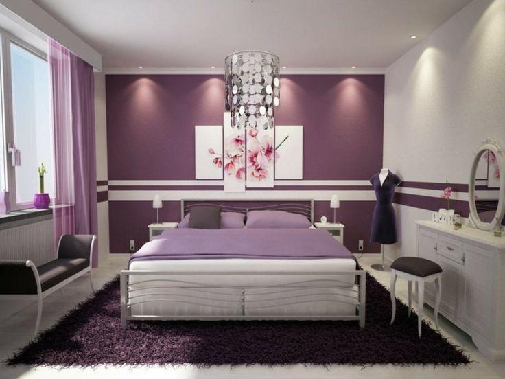 Zwei Farben Schlafzimmer Beige Lila Wand Gemalde   Boisholz, Wohnzimmer  Design