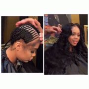 middle part sew-in hair