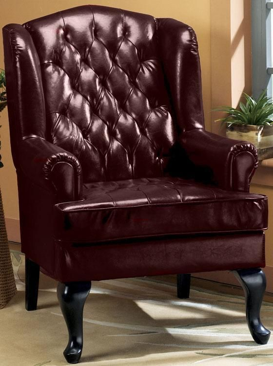 Tufted Wing Chair  45H Burgundy HOME DECORATORS