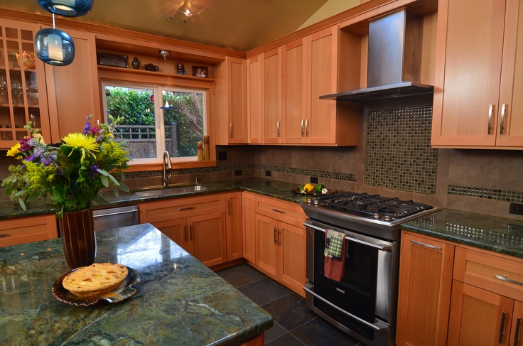 Fir Cabinets And Green Countertops Too Dark Kitchen