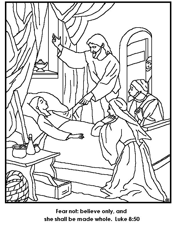 Jesus Restores Jairus' Daughter To Life Coloring Page