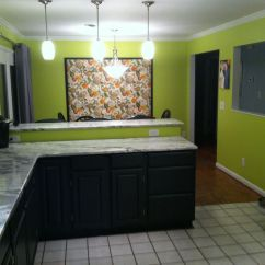 Greenery Above Kitchen Cabinets Tuscan Sunflower Decor Lime Green Walls With Two Tones Gray And Black ...