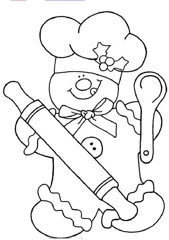 chef gingerbread coloring page  dibujos para bordar