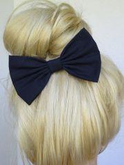 navy blue hair bow clip accessories