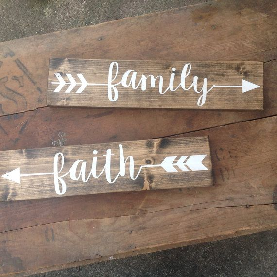 ARROW Wood Sign Pick One Rustic Sign Family Love Faith