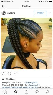 feed in braids; corn rows; ponytail;