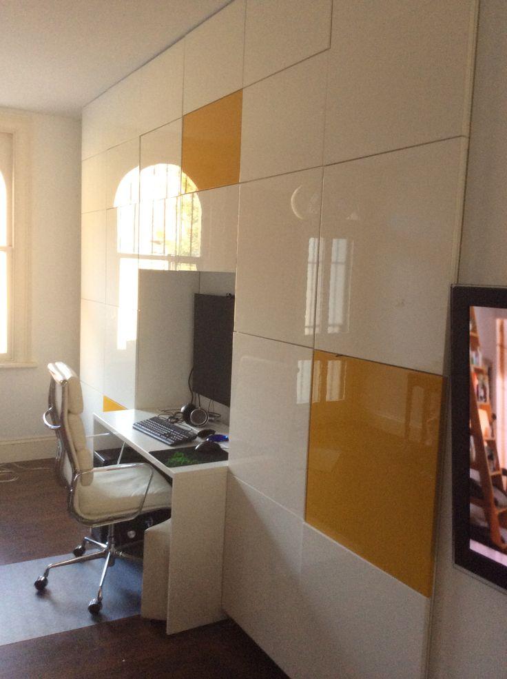 Floor to ceiling IKEA Besta with builtin study nook