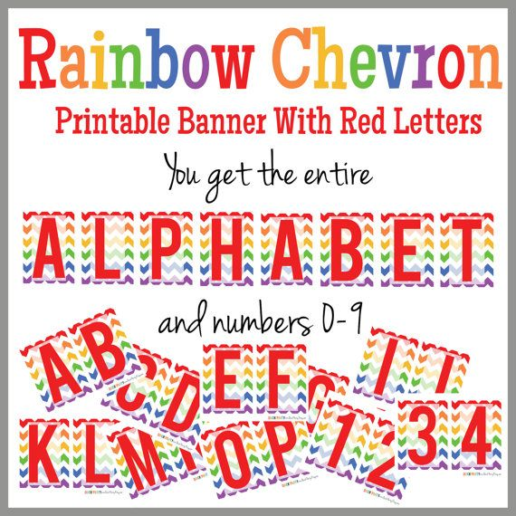 Rainbow Chevron Printable Alphabet Banner  Red Letters