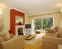 photo of orange russet terracotta rust living room lounge ...