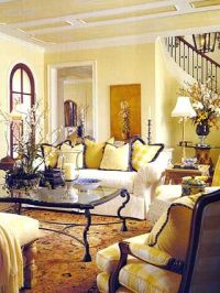 Yellow walls with deeper gold rug & accents, very dark ...