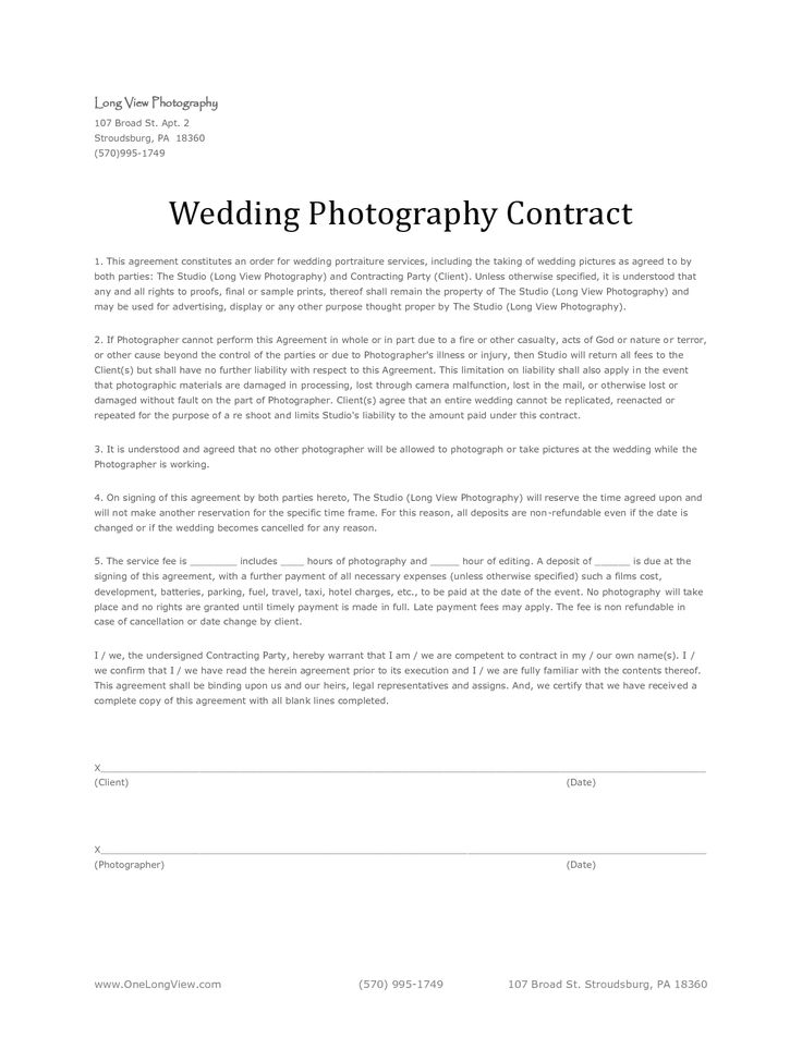 25 best Photography contract ideas on Pinterest