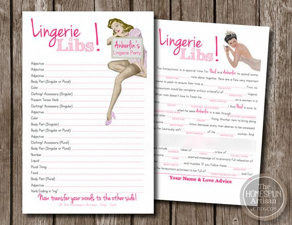 Personalized Lingerie Mad Lib Bachelorette Game