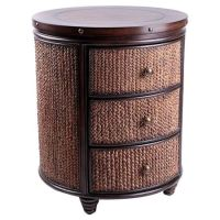 Three-drawer end table with seagrass and crushed bamboo ...