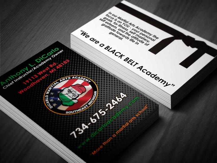 Business Card Design For A Local Martial Arts Studio
