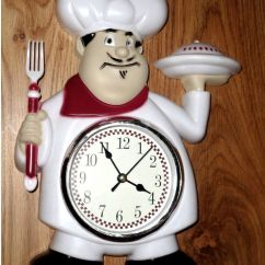 Italian Themed Kitchen Curtains Metal Tables Fat Chef Wall Clock Red White $21.95 | ...
