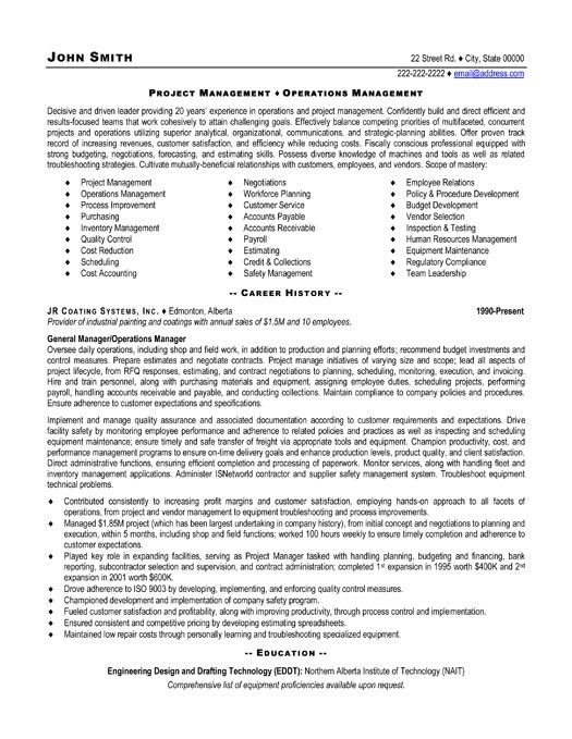 project manager example resume - Construction Project Manager Resume Examples